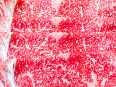 Japanese wagyu texture, bright pink. Is a meat that has fat inserted with many muscles, good taste, soft texture, not sticky Suitable for eating as a shabu-yakiniku or grilling meat.