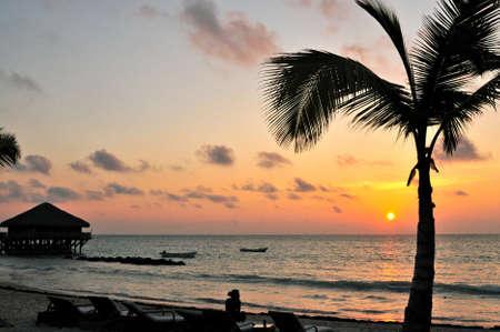 Sunrise at a beach Imagens