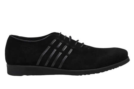 swelled: black mens sports shoes over white background Stock Photo