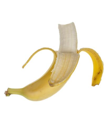 peeled banana: Half peeled banana on a white background