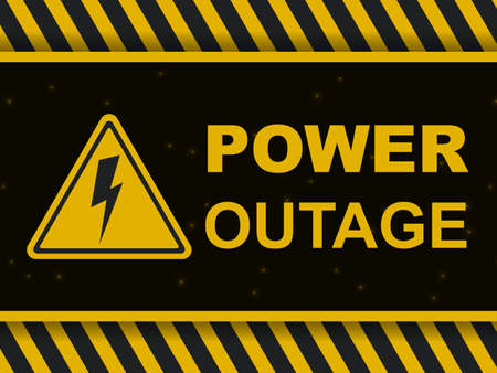 Power outage warning banner. Power outage icon and sign on a black and yellow vector background. Blackout poster. Vector illustration