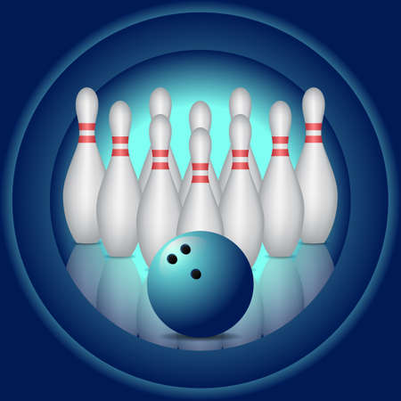 Blue background with bowling pins and bowling ball. Stock Illustratie