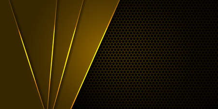 Hexagon carbon fiber yellow background with yellow luminous lines and highlights.