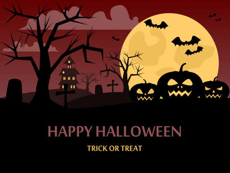 Happy Halloween background with a picture of a pumpkin, the night sky, the moon and the atmosphere of Halloween. Night silhouettes of bats on a background of the full moon. Vector illustration.