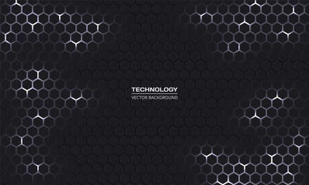 Dark technology hexagonal vector background. Abstract white bright energy flashes under hexagon in dark technology modern futuristic background. Gray and white honeycomb texture grid. Ilustración de vector