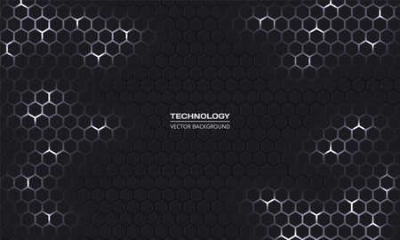 Dark technology hexagonal vector background. Abstract white bright energy flashes under hexagon in dark technology modern futuristic background. Gray and white honeycomb texture grid. Ilustração Vetorial