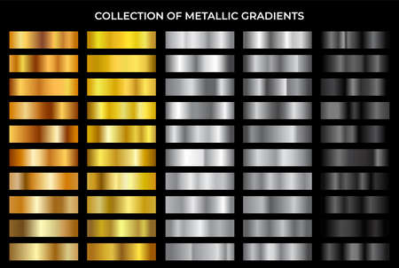 Gold, bronze, silver and black texture gradation background set. Vector metallic gradients. Elegant, shiny and bright gradient collection for chrome button, frame, ribbon, border, label design.