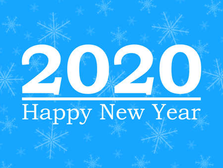 Happy New Year 2020, blue background with snowflakes.