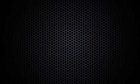 Black background. Dark hexagon carbon fiber texture. Black honeycomb metal texture steel background. Web design template vector illustration EPS 10. Vektorgrafik