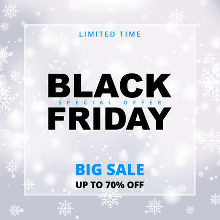 Black friday snowy sale promotion banner. Black friday winter white sale banner template.