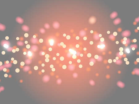 Abstract bokeh background. Blurred bright abstract bokeh on gray-orange background. Holiday glowing colored lights with sparkles. Festive defocused lights.