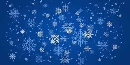 Christmas snowfall, festive mood, snow and swirling snowflakes on a blue background. New year illustration with snowflakes. 向量圖像