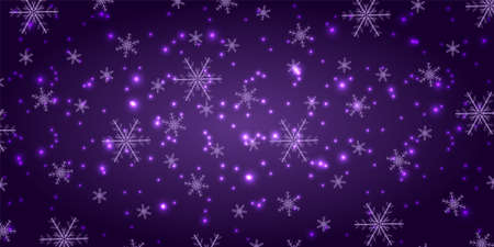 Snowfall on a violet background. Winter snowflakes trendy vector background. Shining snow New Year backdrop. Card or banner with flakes scatter. Freezing cold symbols. Vector illustration. 向量圖像