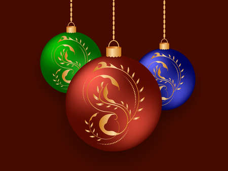 Christmas balls with gold color drawings and highlights. Festive colored Christmas balls hanging on gold chains on a burgundy background. Vector illustration. 向量圖像