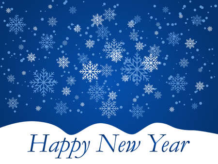 New year illustration with snowflakes. Christmas snowfall, festive mood, snow and swirling snowflakes on a blue background.