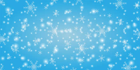 Snowfall on a blue background. Winter snowflakes trendy vector background. Shining snow New Year backdrop. Card or banner with flakes scatter. Freezing cold symbols. Vector illustration.