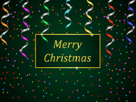 Christmas holiday banner. Green gradient background with colorful streamer and confetti for the holiday. Vector illustration