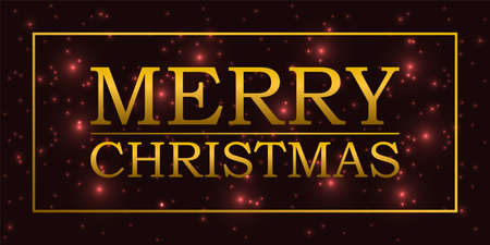 Christmas background with golden letters and frame. 向量圖像