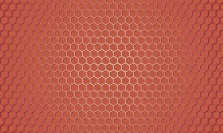 Light red metallic hexagon textured steel background. Red carbon fiber texture. Web design template. Abstract honeycomb background with red carbon fiber.