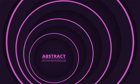 Dark colorful geometric abstract background. Dark violet and pink circles paper cut decoration diverge from below. Dark violet elegance modern trendy background.