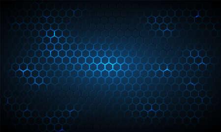 Dark blue technology hexagonal vector background. Abstract blue bright energy flashes under hexagon in navy blue technology modern futuristic background vector illustration. Blue honeycomb texture grid. Vecteurs