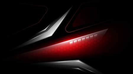 Abstract lighting technology vector background. Abstract car tail light with hexagonal carbon fiber. Futuristic modern backdrop with rear car red light.