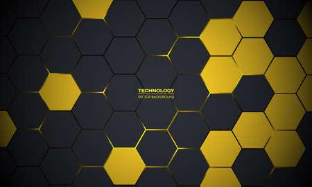 Dark gray hexagonal technology abstract vector background. Yellow bright energy flashes under hexagon in futuristic modern technology background vector illustration. Dark gray honeycomb texture grid. Ilustracje wektorowe