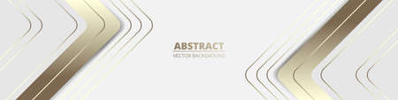 White wide luxury abstract background with golden lines and shadows, arrows and angles. Modern light wide banner with golden luminous lines. Sporty bright futuristic horizontal abstract background. Ilustración de vector