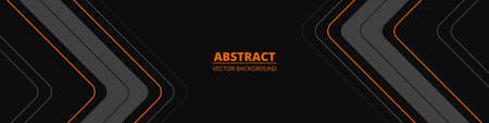 Black wide abstract horizontal banner with gray and orange lines, arrows and angles. Dark modern sporty bright futuristic horizontal abstract background. Wide vector illustration EPS10.