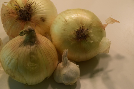 lacrimal: Onions and Garlic arrangement Stock Photo