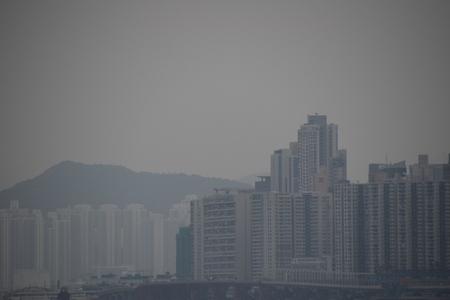 Een weergave van Hong Kong wanneer de luchtvervuiling ernstig is Stockfoto