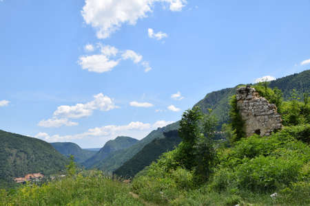 The ruins of Vratnik, a fort in Bosnia and Herzegovina. Stock Photo