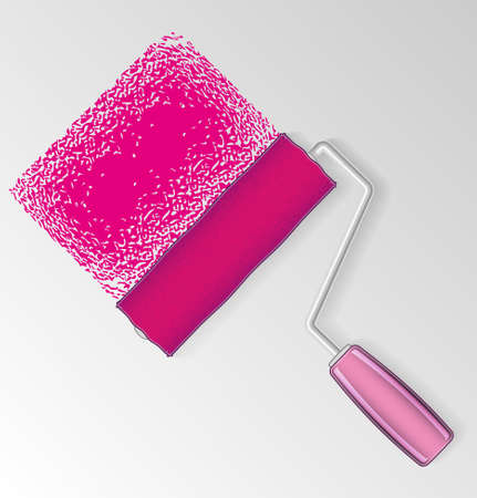 colours tints: Vector pink paint roller