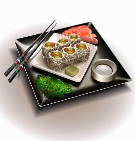soy sauce: Vector sushi plate set Illustration