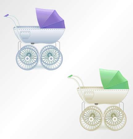 Vector baby buggy Vector