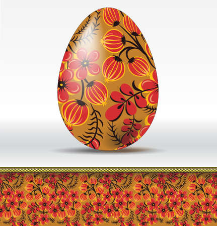 russian food: Vector easter egg in hohloma style