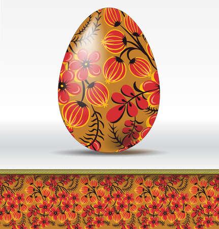 Vector easter egg in hohloma style