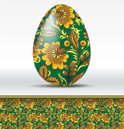 hohloma: Vector easter egg in hohloma style