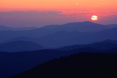 smoky mountains: sunset, Great Smoky Mountains National Park, USA