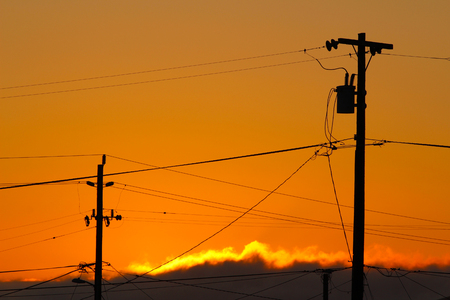 telephone poles: Telephone Poles and Wires at Sunset