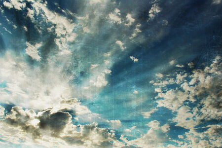 Blue Sky with Clouds, Vintage Stock Photo