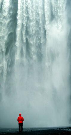 skogafoss waterfall: Skogafoss Waterfall with Person, Iceland