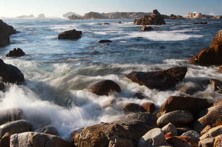 Scenic ocean landscape of Asilomar State Beach, Pacific Grove and Monterey, California, United States of America (USA) 写真素材