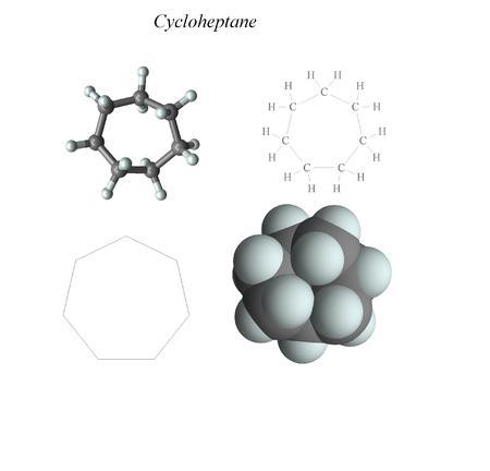 Molecular structure, 3D molecular plot and structure diagram, alkanes 写真素材