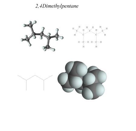 Molecular structure, 3D molecular plot and structure diagram, alkanes Stock Photo