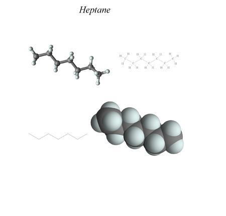 Molecular structure, 3D molecular plot and structure diagram, alkanes Foto de archivo - 110181600