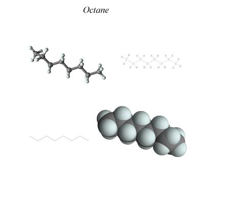 Molecular structure, 3D molecular plot and structure diagram, alkanes Stock Photo