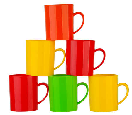 gr: Many color plastic cup on white background