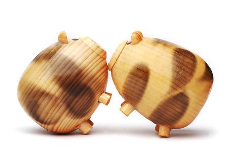 potbellied: wood pig on isolated background