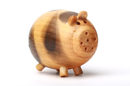 pot bellied: wood pig on isolated background